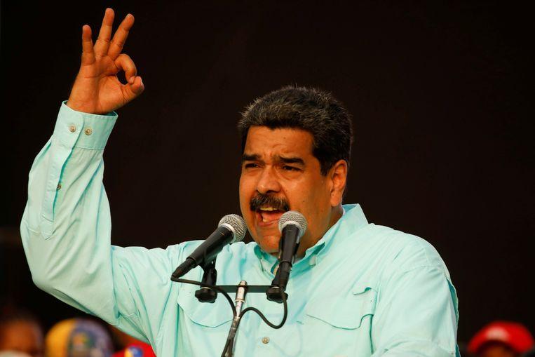 Maduro tijdens een politieke bijeenkomst op 2 mei.  Beeld null