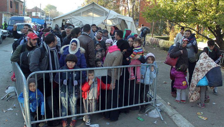 Migranten uit Afghanistan en Syrië wachten bij een dranghek in de Servische stad Presevo. Beeld epa
