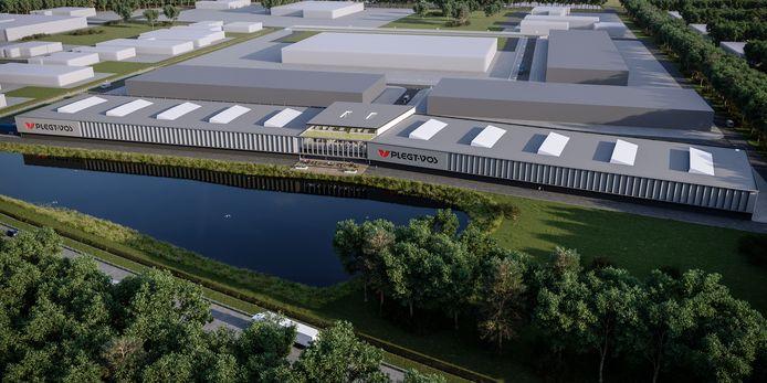 Op de voorgrond de nieuwe fabriek. Daarachter zijn nog vier hallen ingetekend, voor de toekomst geplande uitbreidingen.