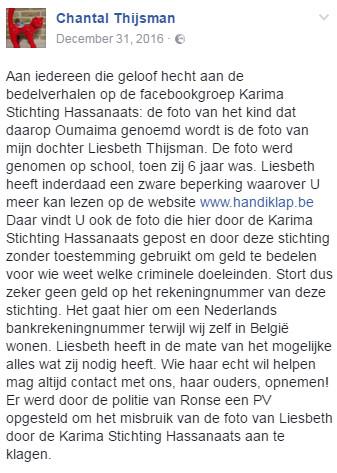 De oproep van Chantal, vele malen gedeeld op Facebook.