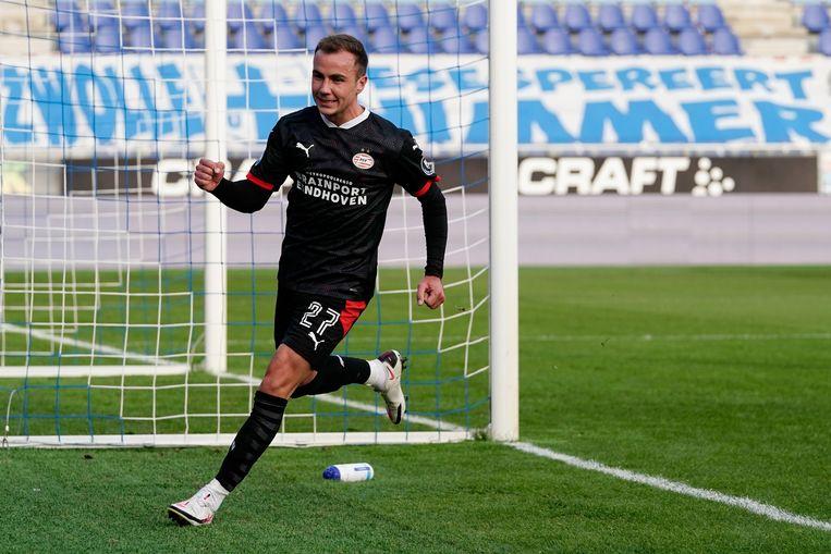 Mario Götze had amper negen minuten nodig om voor PSV zijn eerste doelpunt te scoren.  Beeld BSR Agency
