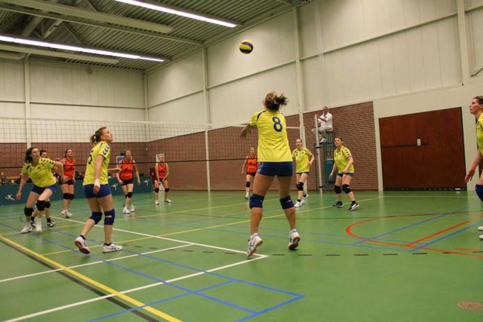 Volleybalsters van Espel-Creil in actie.