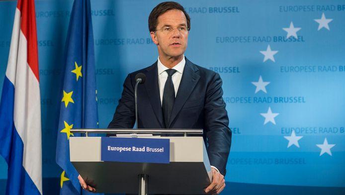 Premier Mark Rutte tijdens een persconferentie op de Europese top gisteren.