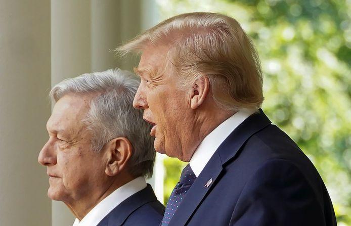 De Mexicaanse president Andres Manuel Lopez Obrador en de Amerikaanse president Donald Trump in de tuin van het Witte Huis.