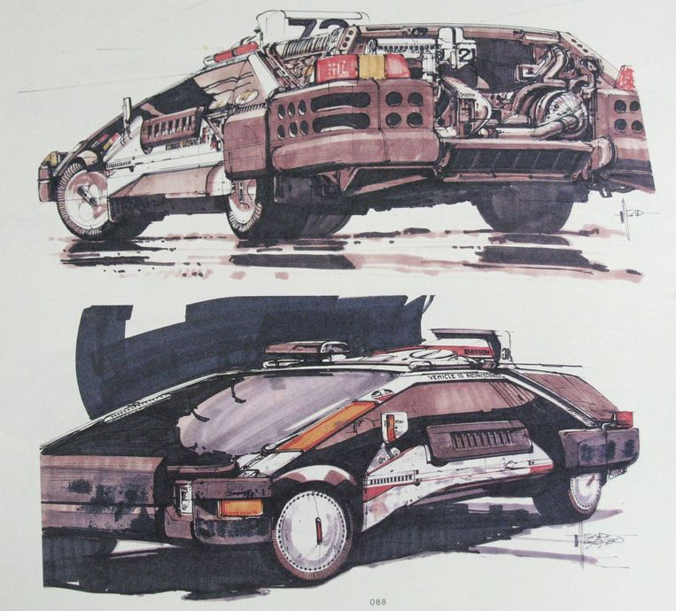 Politieauto die Syd Mead voor Bladerunner (1982) ontwierp.  Beeld