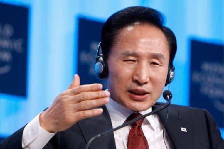 De Zuid-Koreaanse president Lee Myuang-bak tijdens de bijeenkomst van het World Economic Forum in Davos. Foto EPA Beeld