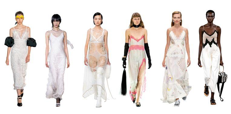 Vanaf links: Giambattista Valli, Burberry, Loewe, Gucci, Tory Burch, Gabriela Hearst  Beeld Imaxtree