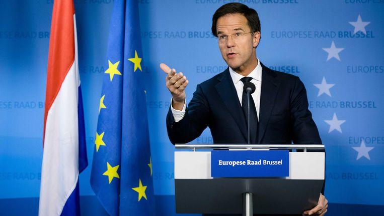 Premier Mark Rutte geeft in Brussel een persconferentie. Beeld anp