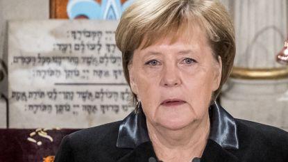 """Merkel tijdens herdenking Kristallnacht in Duitsland: """"We ervaren opnieuw een verontrustend antisemitisme dat het joodse leven bedreigt"""""""