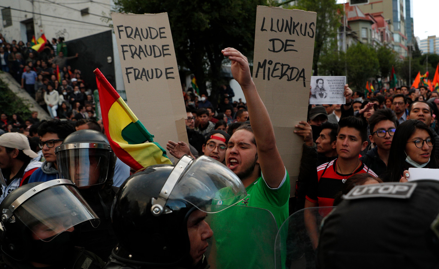 Aanhangers van oppositiekandidaat Carlos Mesa protesteren in La Paz.