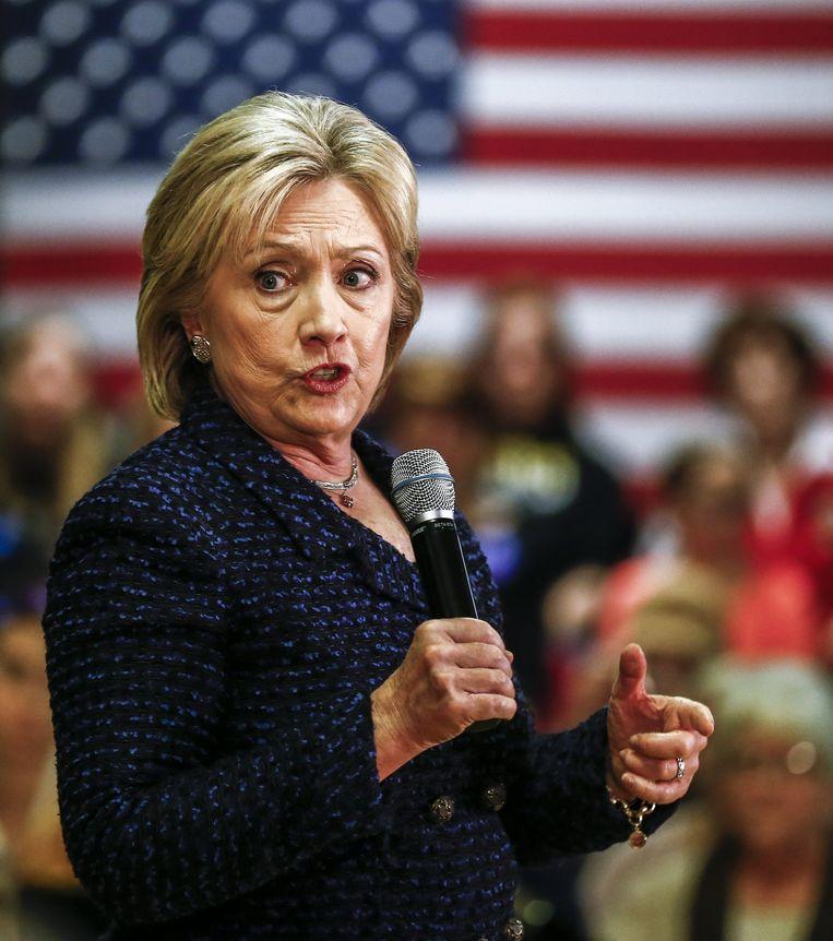 Clinton bezocht donderdag onder andere Vinton in Iowa. Alle kandidaten trekken door de staat om kiezers voor zich te winnen. Beeld null