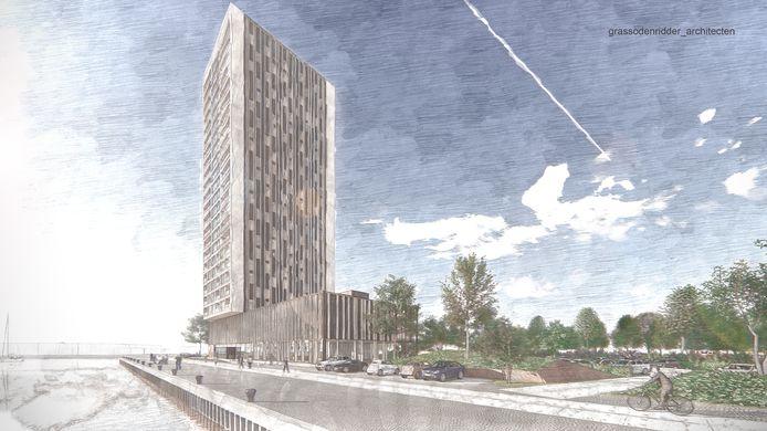 Artist impressie nieuwbouw Beurtvaartkade Terneuzen, een project van Sprangers met bouwbedrijf Cordeel waarvoor de planologische procedure nog loopt.