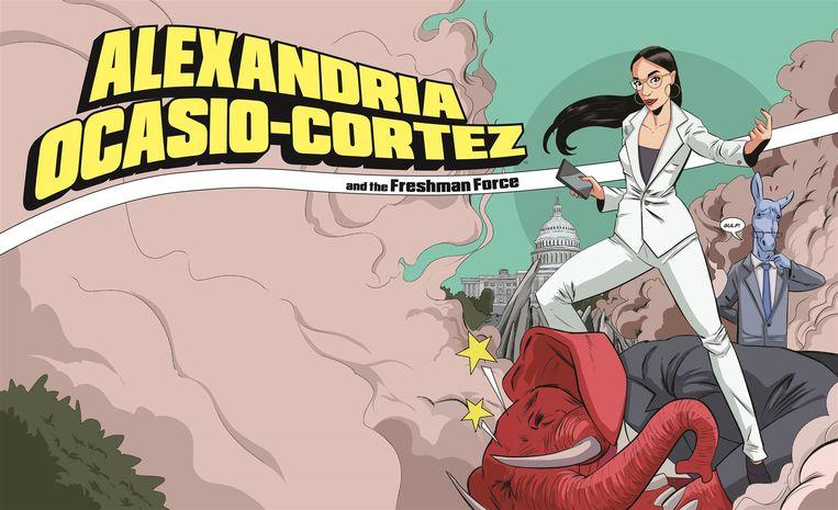 Ocasio-Cortez  op de cover van het stripverhaal met wit pak en smartphone.