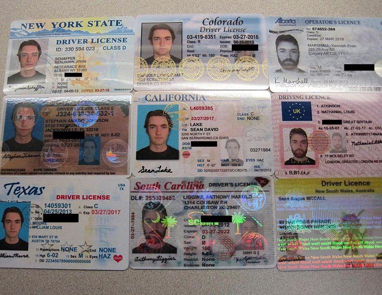 Vervalste identiteitsbewijzen, ooit te koop via Silk Road. Beeld Hollandse Hoogte / The New York Times Syndication