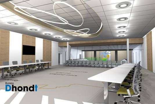 Impressie van de nieuwe raadzaal op de bovenverdieping van het straks opgeknapte gemeentehuis in Zundert