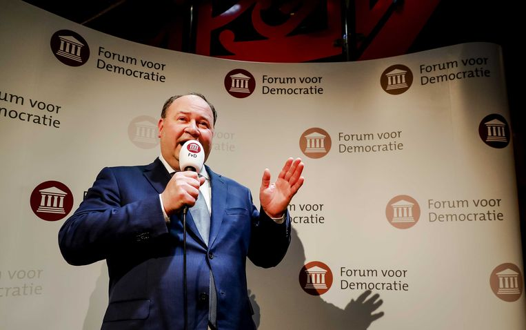 Henk Otten van Forum voor Democratie tijdens de uitslagenavond van de Provinciale Statenverkiezingen en de waterschapsverkiezingen.  Beeld ANP
