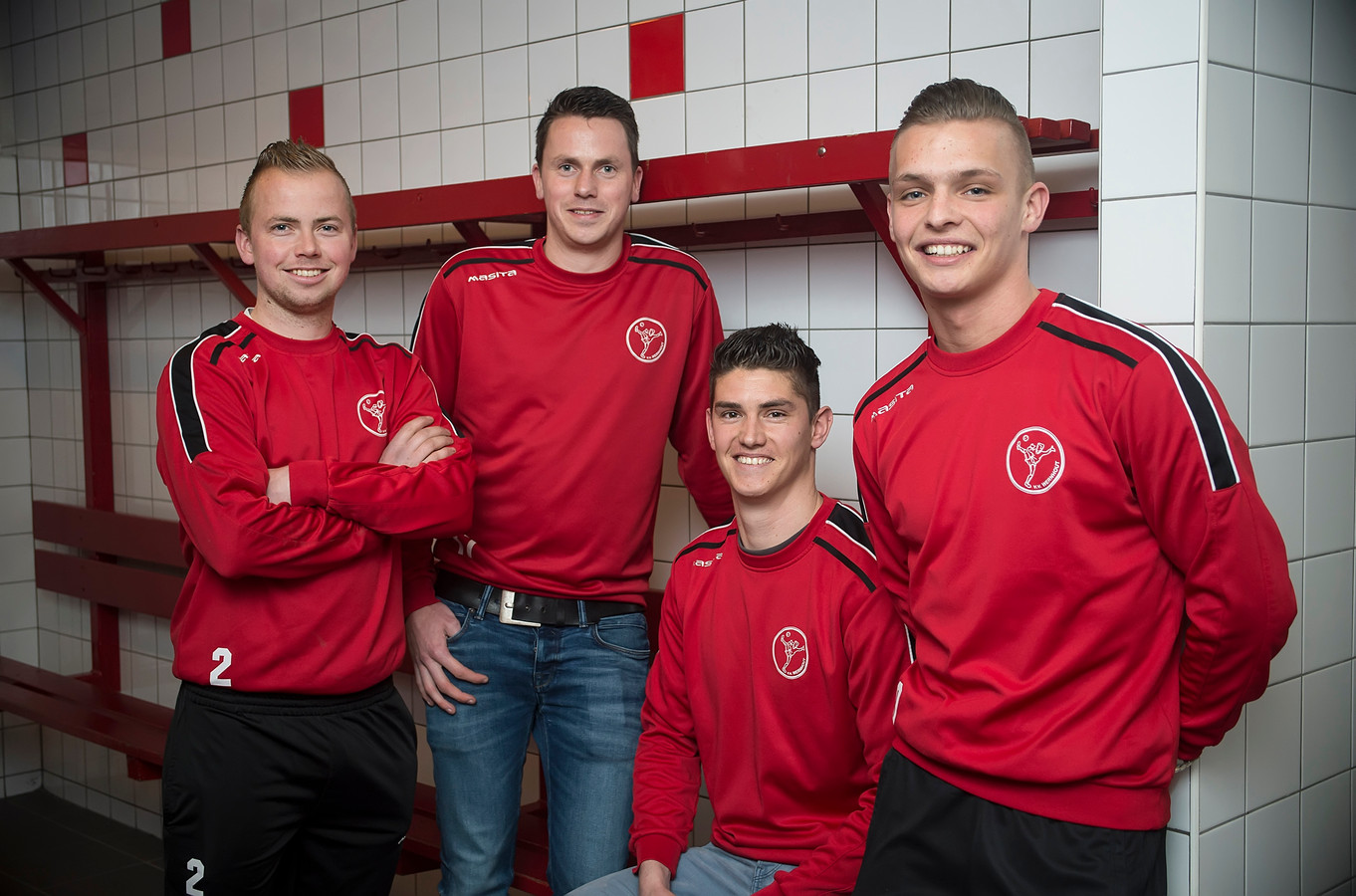 Christian Gommers, Maikel Zagers, Leroy Gommers en Max Gommers (vlnr).