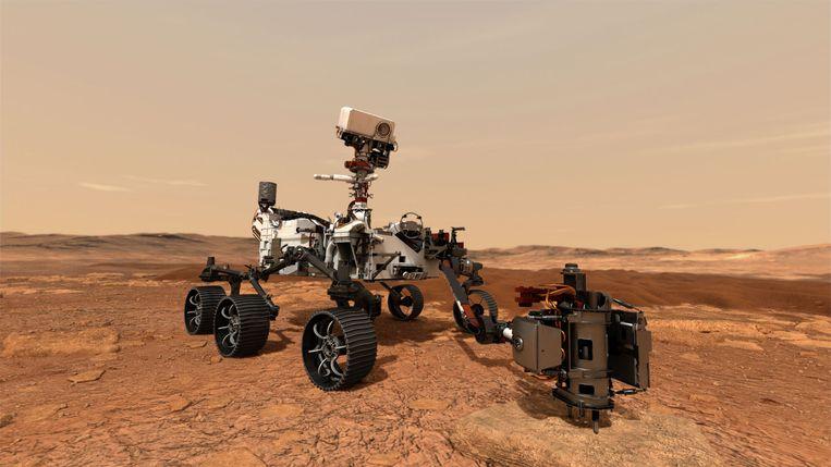 Tekening van NASA's nieuwe Marsrobot 'Perseverance'. Het wagentje is één van drie missies die deze maand richting onze buurplaneet vertrekken. Beeld NASA