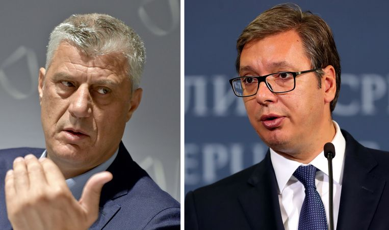 De president van Kosovo Hashim Thaci (L) en de Servische leider Aleksandar Vucic (R).