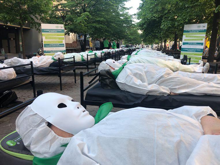 Vakbond ACV herdacht vandaag deslachtoffers met een symbolische actie.