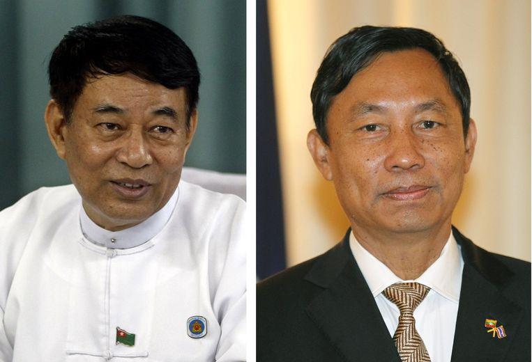 Secretaris-generaal van de USDP Maung Maung Thein (L) en Shwe Mann, partijvoorzitter (R). Beide mannen zouden zijn afgezet.