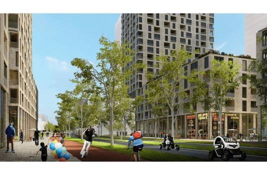 Deze illustratie van de 'stadsboulevard' die de Fellenoord in Eindhoven zou kunnen worden.