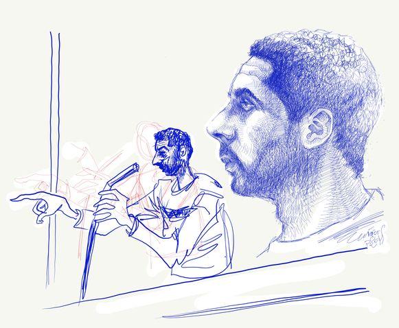 Tekening van Mehdi Nemmouche tijdens het proces.