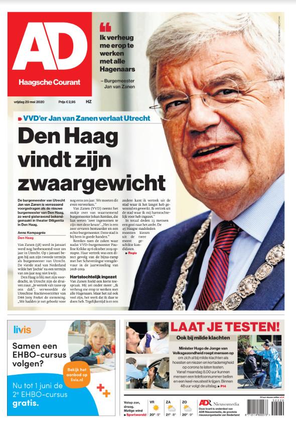 De voorpagina van AD Haagsche Courant van vrijdag 29 mei.