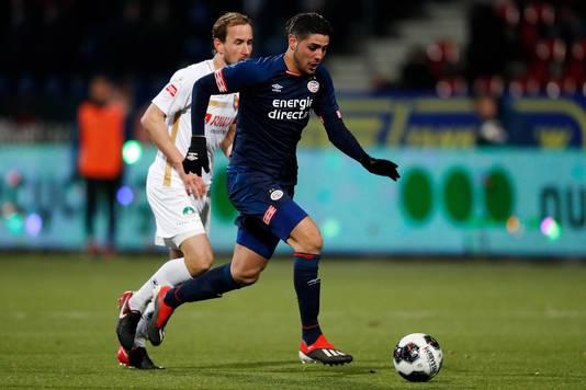 Maxi Romero speelt zijn wedstrijden vooral in Jong PSV, zoals hier tegen Telstar.