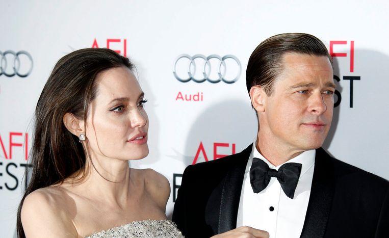 Brad Pitt met zijn inmiddels ex-vrouw Angelina Jolie.