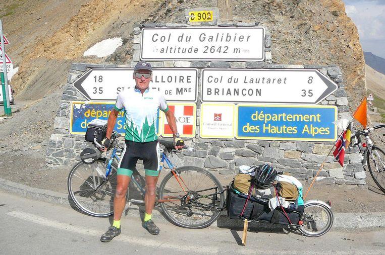 Marnix in volle uitrusting, hier op de Galibier.
