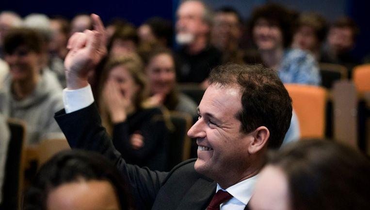 PvdA-leider Lodewijk Asscher bij een verkiezingsavond donderdag op de Avans Hogeschool in Breda. Beeld Freek van den Bergh