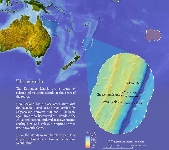 Carte fournie par le ministère néo-zélandais de l'Environnement.