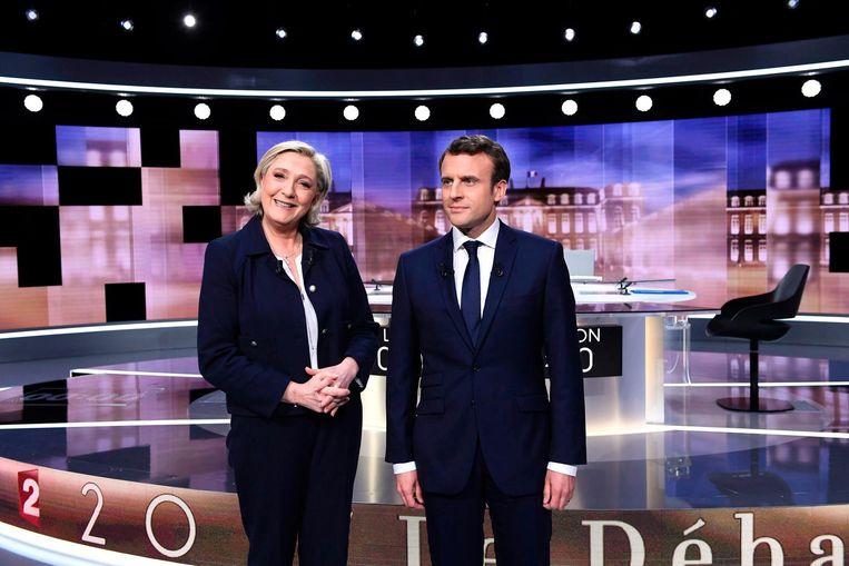 Marine Le Pen en Emmanuel Macron. Beeld AFP