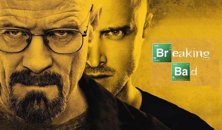 Walter White (Bryan Cranston) en Jesse Pinkman (Aaron Paul) in 'Breaking Bad'.