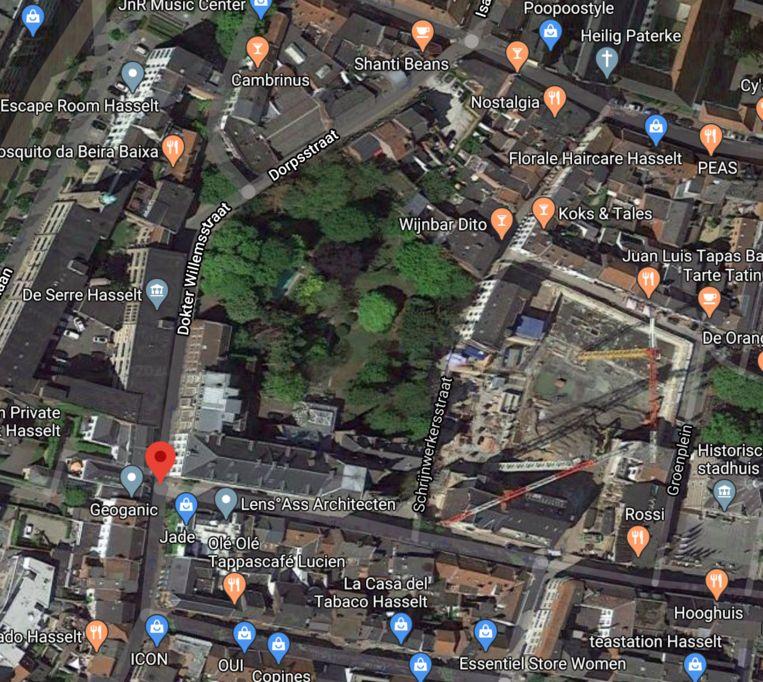 Via google maps is de groene long duidelijk zichtbaar.