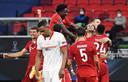 Vreugde bij de spelers van Bayern München na de 2-1 in de verlenging.