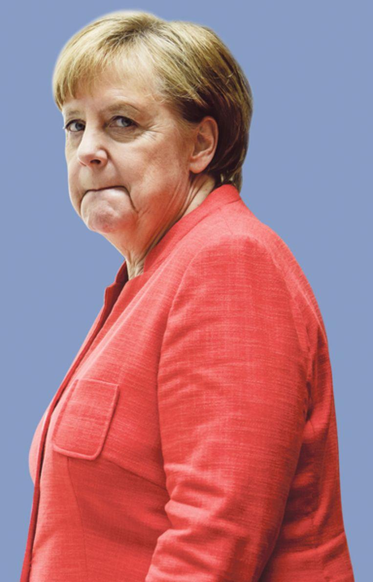 Merkel heeft het moeilijk. Beeld Clemens Bilan
