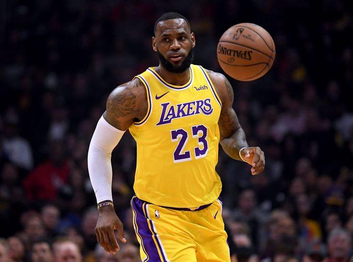 LeBron James in actie namens de LA Lakers tegen de Los Angeles Clippers.