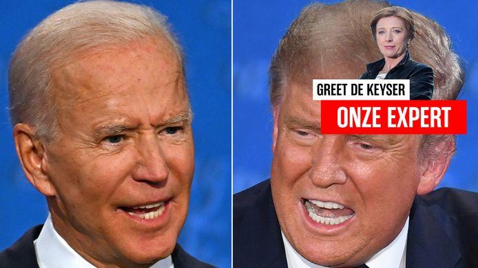 Joe Biden en Donald Trump tijdens hun eerste debat.