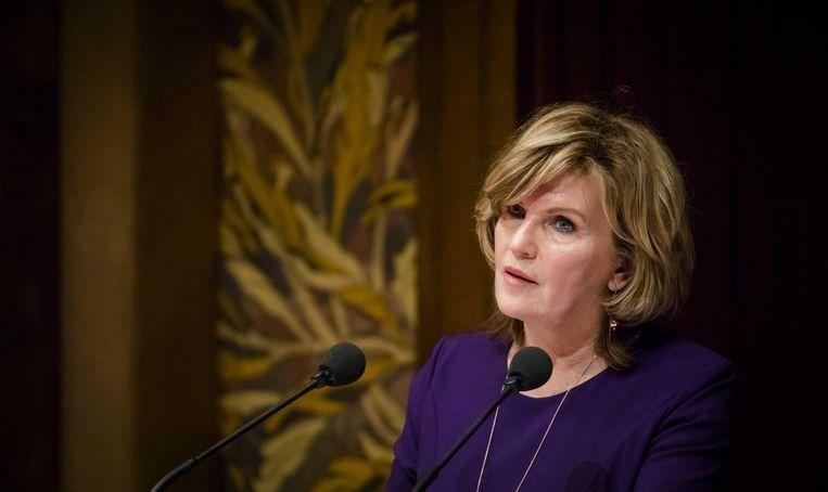 Pia Dijkstra tijdens het debat in de Eerste Kamer over de donorwet. Beeld null