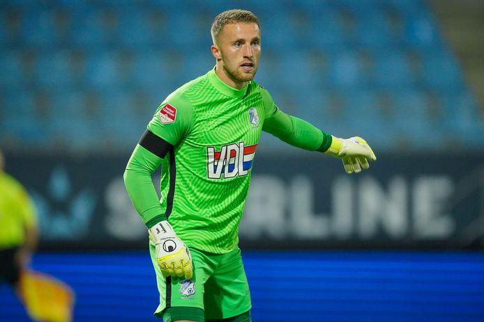 Keeper Thom Jonkerman tijdens zijn debuut eind september bij NEC (6-0 verlies).