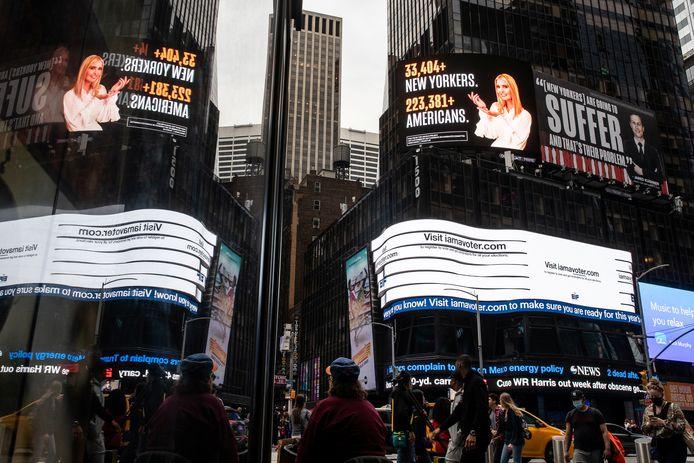 De spraakmakende reclameborden op Times Square in New York.