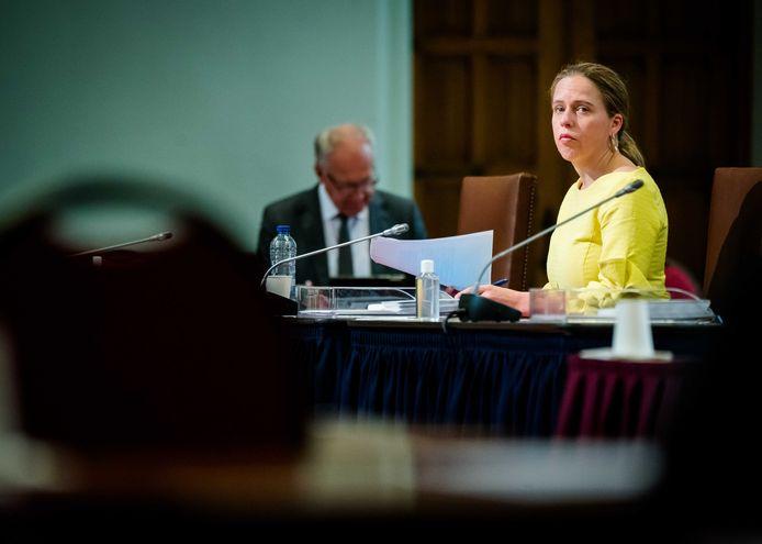 Minister Carola Schouten van Landbouw, Natuur en Voedselkwaliteit (ChristenUnie) tijdens een vergadering in de Eerste Kamer.