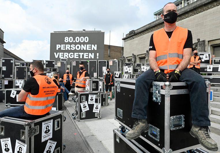 Protest van de evenementensector op de Heisel in Brussel enkele dagen geleden.