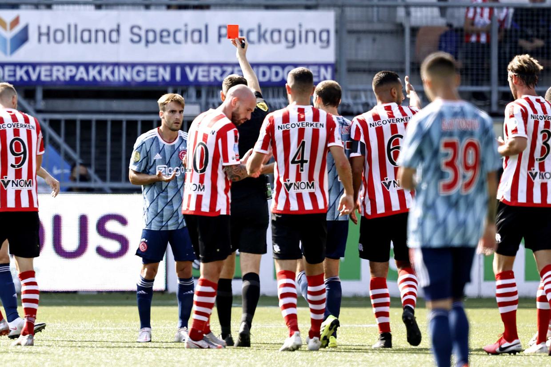 Nico Tagliafico van Ajax krijgt rood in de wedstrijd tegen Sparta. Beeld ANP