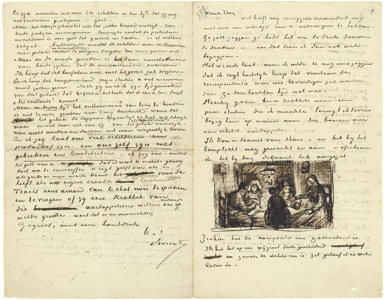 Brief van Vincent aan Theo, met schets van De aardappeleters, Nuenen, 9 april 1885. Beeld