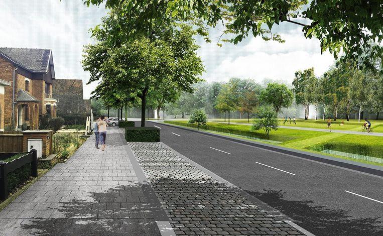 De straatkant aan Fort 4 wordt volledig opengetrokken met een groene long en nieuw fietspad.
