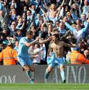 Sergio Agüero maakt de winnende goal tegen Queens Park Rangers.