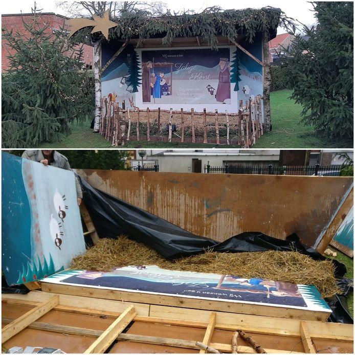De kerststal van de KWB heeft het begeven onder de storm en is niet te herstellen.